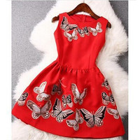 Women's fashion cute prince sleeveless butterfly print dress A line flare dress = 1946731396