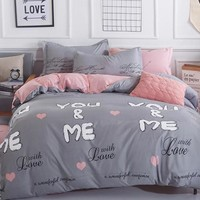 MYRU Home Cheap Bedding Sets Modern The Letter Soft Duvet Cover Bed Set Pillowcase King Size Queen Double Full 4pcs Twin 3pcs