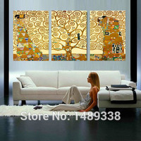 3 pcs Gustav Klimt Tree of Life Restaurant Mural creation for home decoration picture print paintings Large canvas art cheap