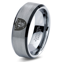 Oakland Raiders Ring Mens Fanatic NFL Sports Football Boys Girls Womens NFL Jewelry Fathers Day Gift Tungsten Carbide 118B