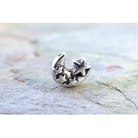 20g Nose Ring Lunar Moon and Stars
