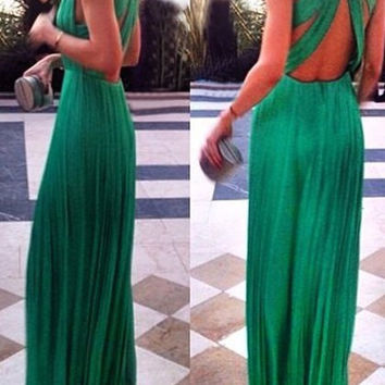 Green Plunging Backless Maxi Dress