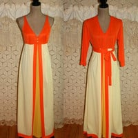 Vintage 70s Vanity Fair Lingerie Set Long Nightgown Peignoir Robe Elegant Dressing Gown 1970s Clothing Orange Yellow 34 Bust Size Small