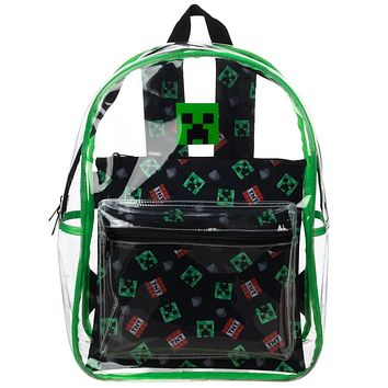 Minecraft Creeper Clear Backpack w/ Removable Pouch