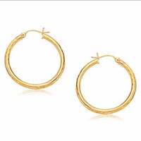 Medium Width Diamond-Cut Hoop Earring in 14K Yellow Gold