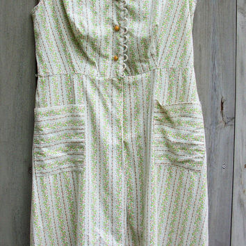 Vintage dress - Green and white calico sundress
