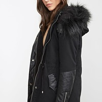 Faux Leather Trimmed Parka