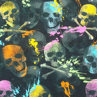 Reusable Grocery Bag Paint Splattered Multi Colored Rainbow Skulls Reversible Ready to Ship Tote Bag