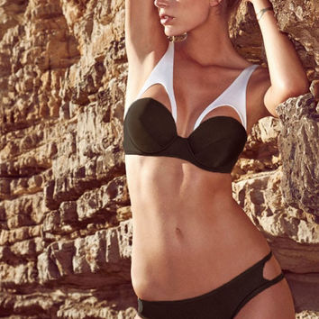 White Brown Low Rise with Wide Straps Push-up Top