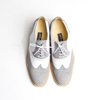 grey and white oxford brogue shoes - FREE WORLDWIDE SHIPPING