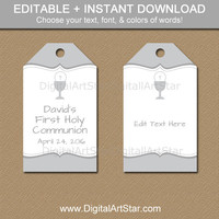 First Communion Party Favor Tags - Printable First Communion Hang Tags - EDITABLE Gift Tags in Silver & White - Instant Download Favor Tags