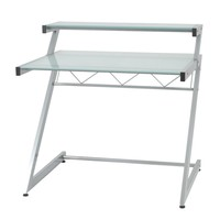 """Z Deluxe 38"""" x 37.5"""" Desk With Shelf in Aluminum with Frosted Glass Top"""