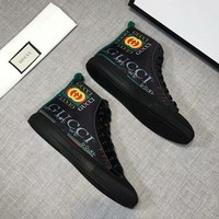 GUCCI New Tide brand fashion casual color high help double G belt with tube men's shoes Black