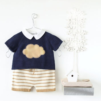 Knitted baby set. Sweater and striped shorts. Camel, navy blue and pearl. 100% cotton. READY to SHIP size Newborn.