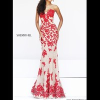 Sherri Hill Style 11120 Red and Nude Prom Dress