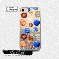 Planets Pattern Earth Solar System Space Liquid Glitter Sparkle Case iPhone 6 and 6s iPhone 6 Plus and 6s Plus iPhone 7 and iPhone 7 Plus