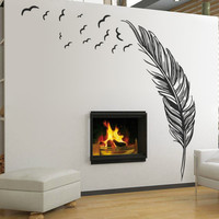 Left right flying feather wall stickers home decor adesivo de parede home decoration wallpaper wall art sticker PVC vinyl decals