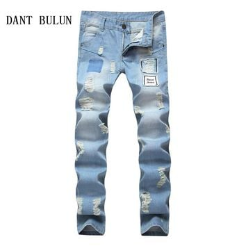 DANT BULUN Fashion Men Ripped Jeans Slim Fit Skinny Stretch Torn Casual Denim Trousers For Man Washed Patchwork Blue Pants,1803