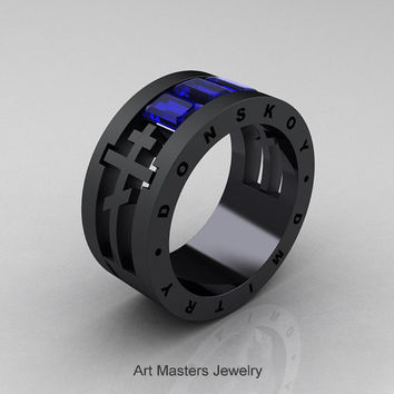 Dmitry Donskoy Mens 14K Matte Black Gold Blue Sapphire Channel Cluster Wedding Band R419M-14KMBGBS