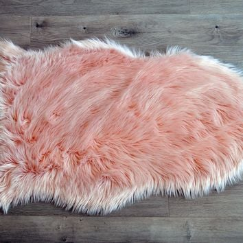 Machine Washable Faux Sheepskin Blush Area Rug