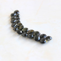 Tourmaline Briolette Gemstone Black Faceted Heart top Drilled Large 9.5mm 18 beads