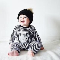 2016 New baby girl & boys clothes long sleeve stripe cartoon cat infant clothing newborn toddler suit baby romper jumpsuit