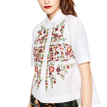 women sweet floral embroidery shirts cotton white vintage totem retro short sleeve casual blouse ladies summer tops