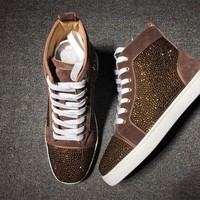 KUYOU Christian Louboutin red sole classic rivet Roller Boat CL gold high top sneakers