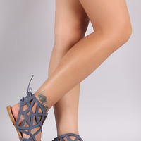 Qupid Denim Print Caged Back Lace-Up Flat Sandal