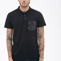 Faux Leather Pocket Polo