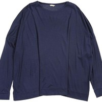 Shoulder Button Big Slip On Blouse Navy - TIINA the STORE