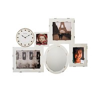 Bulova Gallery Large Wall Art & Clock - White Finish - Picture Frames - Mirror