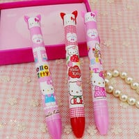0.5mm Cute Kawaii Cartoon Hello Kitty Plastic Ballpoint Pen Creative Bullet Double Color Pens For Kids Gift Free Shipping 459