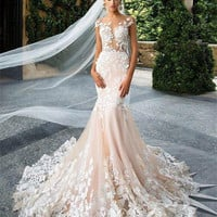 Romantic Champagne Lace Mermaid Wedding Dresses 2017 Sexy Backless Cap Sleeve Wedding Bridal Gowns robe de mariage