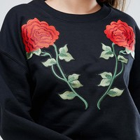 Missguided Applique Detail Sweat Top at asos.com