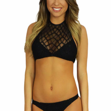 Soah Luca Lace Halter Top Black