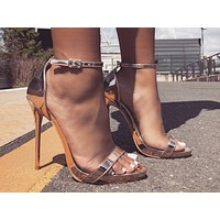 Fashion women's sandals quick sell one-word buckle, fishmouth, round head, thin high heels, golden
