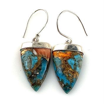 Spiny Oyster Turquoise Sterling Silver Point Earrings