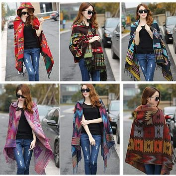 Fringe Ethnic Geometric Women's Batwing Cape Poncho Knit Top Cardigan Sweater  Scarf Shawl