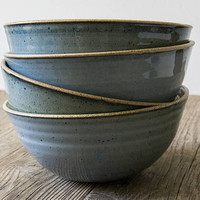 Soup Bowls, Pottery Serving Bowl, Stoneware Bowl, Blue Bowl, Noodle Bowl, Ceramics Handmade Gift, Wheel Thrown Pottery, Pottery Gifts