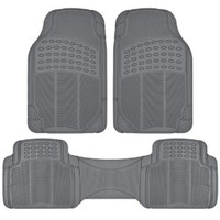 MotorTrend 100% Odorless Clean Rubber Car Floor Mat Set for Maximum Weather Protection (Charcoal Gray) -Semi Custom Fit