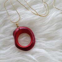 Gold and Red Circle Tagua Necklace - Handmade, Round, Tagua Nut, Natural, Vegetable Ivory, Eco Friendly, Sustainable, Red Circle, Organic