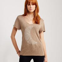 Crescent Moon Frayed V-Neck Tee