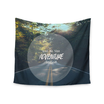 """Ann Barnes """"The Adventure Begins"""" Typography Nature Wall Tapestry"""
