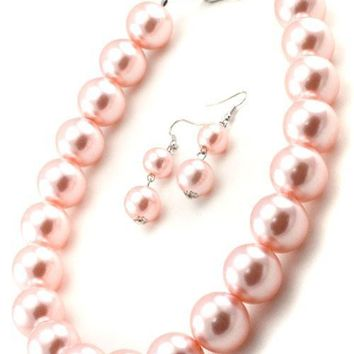 "17"" pink .75""  large faux pearl collar choker necklace 1"" earrings"