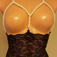 Sexy Erotic Non Cup Bra Bustier Attractive Design with Lace and Pearls Harness