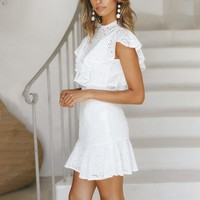 Elegant ruffles cotton white dress women Hollow out embroidery mini dress femlae High waist dress vestidos