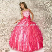 Spaghetti Straps Fashion Girls Modern Design Ruffles Organza Ball Dress Floor Length With Beadings Children Pageant Gown Alternative Measures - Brides & Bridesmaids - Wedding, Bridal, Prom, Formal Gown