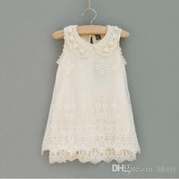 Kids Clothing 2015 Girls Pearl Collar Lace Dresses Fashion Princess Dress Beige Embroidered Dresses Kids Summer Dress.