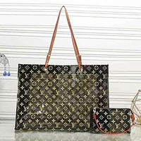 Hipgirls LV Louis Vuitton Fashion Women Shopping Bag Shoulder Bag Satchel Tote Transparent jelly Two Piece Set Black
